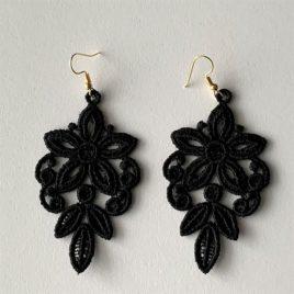 Boucles d'oreilles florales noires