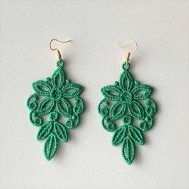 Boucles d'oreilles florales vertes
