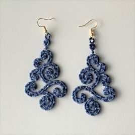 Boucles d'oreilles breizh bleu chiné