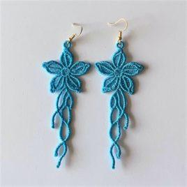 Boucles d'oreilles fleurs bleues