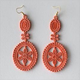 Boucles d'oreilles médaillon rose