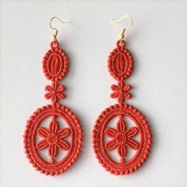 Boucles d'oreilles médaillon rouge