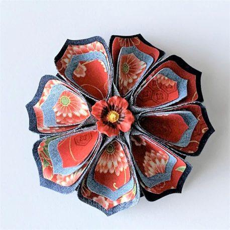 Barrette fleur japonaise grande
