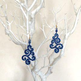 Boucles d'oreille breizh bleu chiné