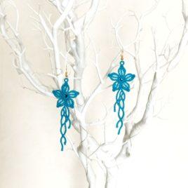 Boucles d'oreille fleurs bleues