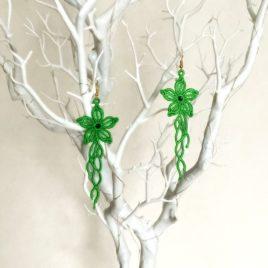Boucles d'oreilles fleurs vertes