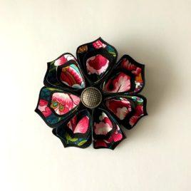 Barrette fleur noire et rose