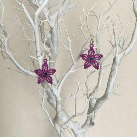 Boucles d'oreilles petite fleur parme