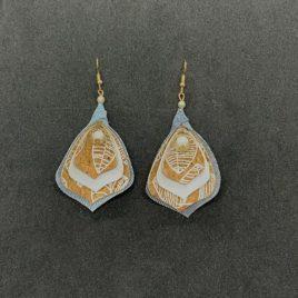 Boucle d'oreille liège motifs blancs
